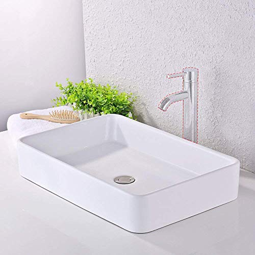Decolav Counter Lavatory Sink - KES Bathroom Sink, Vessel Sink 24 Inch Porcelain Rectangular White Above Counter for Lavatory Vanity Cabinet Contemporary Style, BVS113