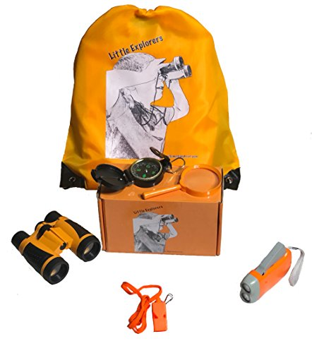 Little Explorer – Outdoor/Indoor Exploration Kit - Binoculars, Magnifying Glass, Compass, Whistle, and Led Flashlight with Bright Backpack. Gift Set, Scouts, Camping-Hiking, Educational, Pretend Play