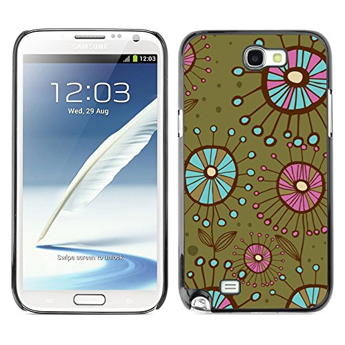 Soft Silicone Rubber Case Hard Cover Protective Accessory Compatible with SAMSUNG GALAXY? NOTE 2 & N7100 - bacteria flowers green teal