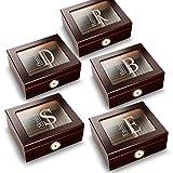 Personalized Mahogany Trinidad Glass Top Humidors - Set of 5 Humidors for Groomsmen - Modern