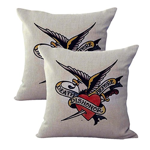 set of 2 Sailor Jerry tattoo Death Before Dishonor cushion cover house decor cheap