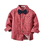 Outtop(TM) Toddler Kids Infant Baby Girls Boys Long Sleeve Solid T-Shirt Plaid Tops Blouse Clothes Gentleman (6T(5~6years), Red-3)