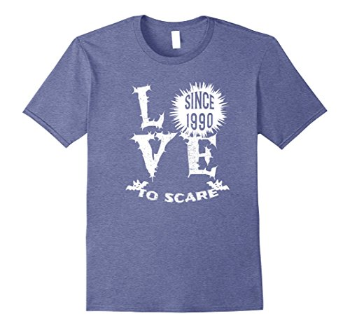 1990's Halloween Costume Idea (Mens Love To Scare Since 1990 Halloween T-Shirt Funny Large Heather Blue)