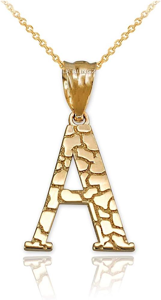 "Sterling Silver Nugget Initial Alphabet Letter /""D/"" Pendant Necklace"