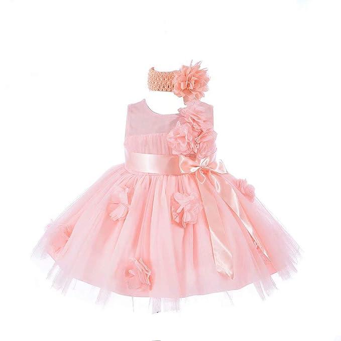 4eaabebff55 Baby Girls Flower Wedding Pageant Princess Bowknot Communion Party Dress  (Blush