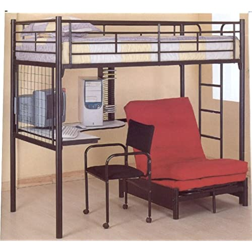couch bunk bed. Coaster Fine Furniture 2209 Metal Bunk Bed With Futon/Desk/Chair And CD Rack, Black Finish Couch
