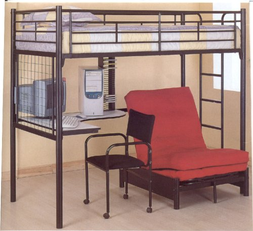 Coaster Fine Furniture 2209 Metal Bunk Bed with Futon/Desk/Chair and