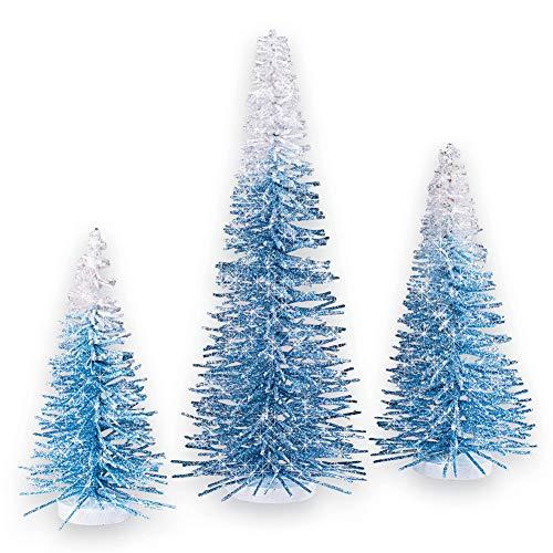 Winter Blue Ombre Bristle Pine Trees Tabletop Mantle Decoration, 3pc. -