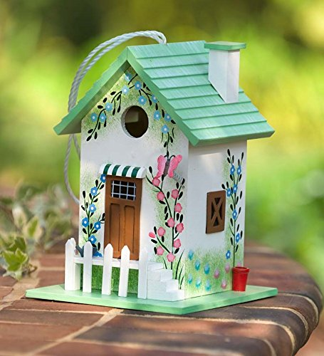 Colorful Cottage Birdhouse, in Green Butterfly