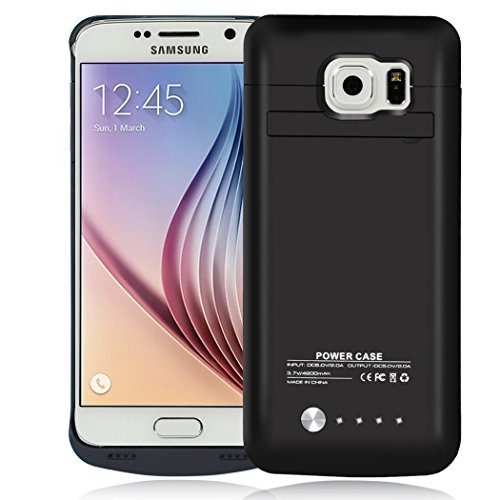 Galaxy S6 Battery Case, 4200 mAh Slim Portable Rechargeable Extended Battery Pack Charger Case, Power Bank Charging Case Kickstand Samsung Galaxy S6-Black by Kunter