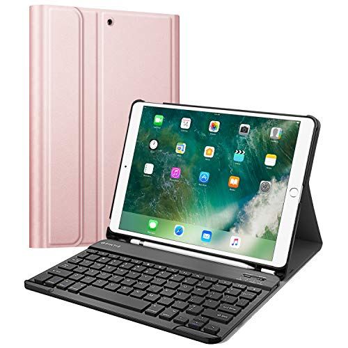 Fintie Keyboard Case with Built-in Apple Pencil Holder for iPad Air 2019 3rd Gen/iPad Pro 10.5 2017- SlimShell Stand Cover w/Magnetically Detachable Wireless Bluetooth Keyboard, Rose Gold