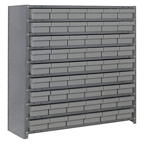 Quantum Storage Systems CL1239-401GY Closed Shelving System with Super Tuff Euro Drawers, 54 QED401 Shelf Bins, 12