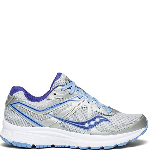 Saucony Women's Cohesion 11 Sneaker, Grey/Purple, 8.5 M US
