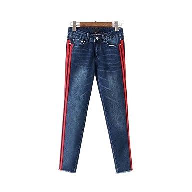 Bande latérale de la mode Denim Jeans Poches Fringe Tassel Longueur  cheville pantalon Pantalons pour femmes 3c768a8e927a