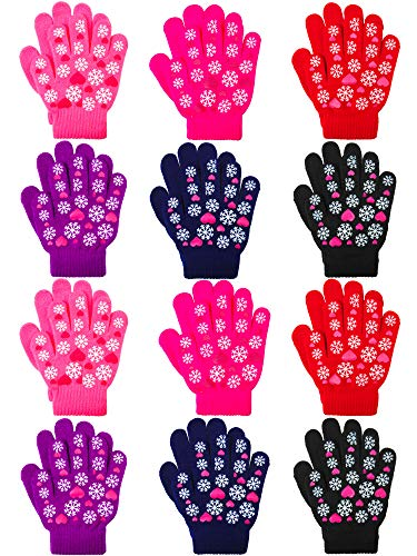 Coobey 12 Pairs Kids Warm Magic Gloves Teens Winter Stretchy Knit Gloves Boys Girls Knit Gloves (Snowflake muticolor, 6-12 Years) (Snowflake Knit Hat)