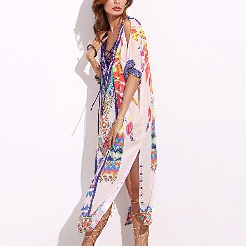 QIYUN.Z Femmes Profond V-Neck Épaule Froide Imprimé Côté Cousu Bohème Longue Robe