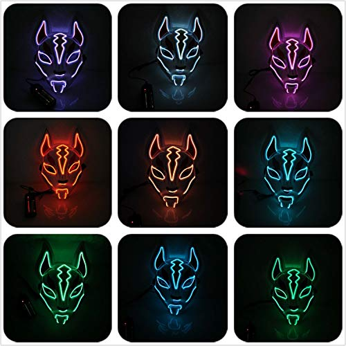 Moonideal Led Light UP Fox Mask | Neon Line Halloween Mask | Sound Induction Mask Controller | Flash with Music