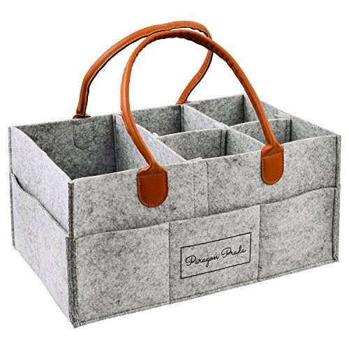 Box Designer Storage (Baby Diaper Caddy Organizer - Nursery Portable Storage Car Bin for, Baby Wipes, Milk, Formula and Toys. Extra Large Nappy Tote, Grey/Gray: By Paragon Prada Designer)