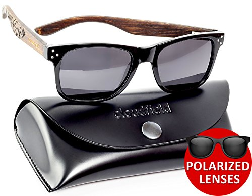 Wayfarer Polarized Sunglasses For Men – Wood Temple 100% UV Blocking Lenses + Case