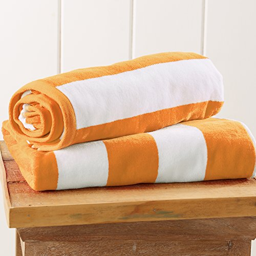 Great Bay Home 2-Pack 100% Cotton Plush Cabana Stripe Velour