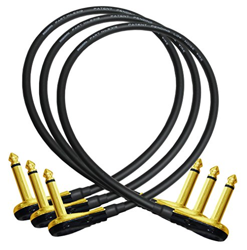 3 Units - Mogami 2319 - 18 Inch - Guitar Bass Effects Instrument, Patch Cable with Premium Gold Plated ¼ Inch Low-Profile, Right Angled Pancake type TS Connectors