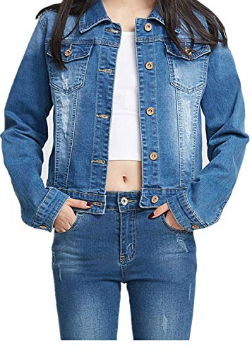 YUKE Girl's Denim Jacket Kid Embroidered Hole Denim Jacket Female Denim Clothing Coat 9-15 Age (Blue, 9-10 Years/Reference Height 22/140)