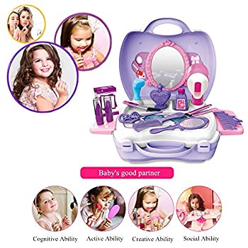 21pcs Pretend Makeup Kit For Girls Cosmetic Pretend Play Dress-up Beauty Salon Toy Set With Mirror Best Gift For Kids 6