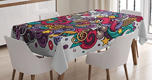 Ambesonne Music Tablecloth, Funky Keyboard Microphone Speakers Instruments Inspirational Caricature Illustration, Dining Room Kitchen Rectangular Table Cover, 52″ X 70″, Multicolor