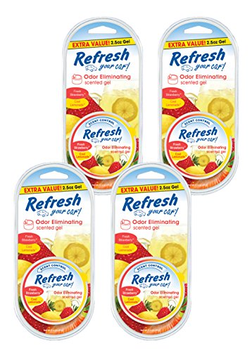 Refresh Your Car! 84924 Scented Gel Can, 2.5 oz Fresh Strawberry and Cool Lemonade, 4-Pack ()