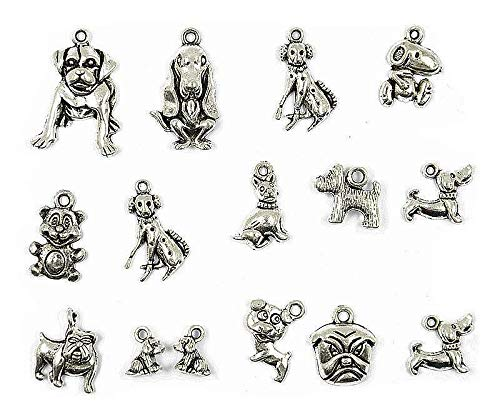Dog Charms Silver Tibet - Lot 15PCS Vintage Tibet Silver Dog Animal Pendant Charms Jewelry Findings Necklace Jewelry Crafting Key Chain Bracelet Pendants Accessories Best