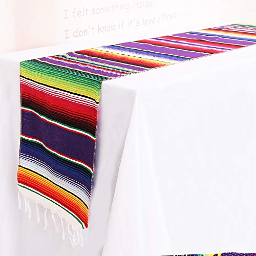TRLYC 14 x 84 inch Mexican Serape Table Runners for Mexican Party Wedding Decorations Fringe Cotton Table Runners(10 Pieces Sets,35CM X 213CM) -