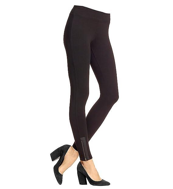 5e09dc822e5c01 HUE Leatherette Trim Cotton Leggings (17969) at Amazon Women's ...