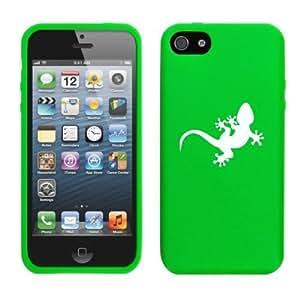 Apple iPhone 5c Silicone Soft Rubber Skin Case Cover Gecko Lizard (Green)