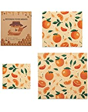 Leanwind Beeswax Food Wraps   3 Pack Reusable and Eco-Friendly Organic Bees Wax Paper in Orange Slice Fruit Pattern   Sustainable Wrap for Kitchen Organization and Storage of Meals