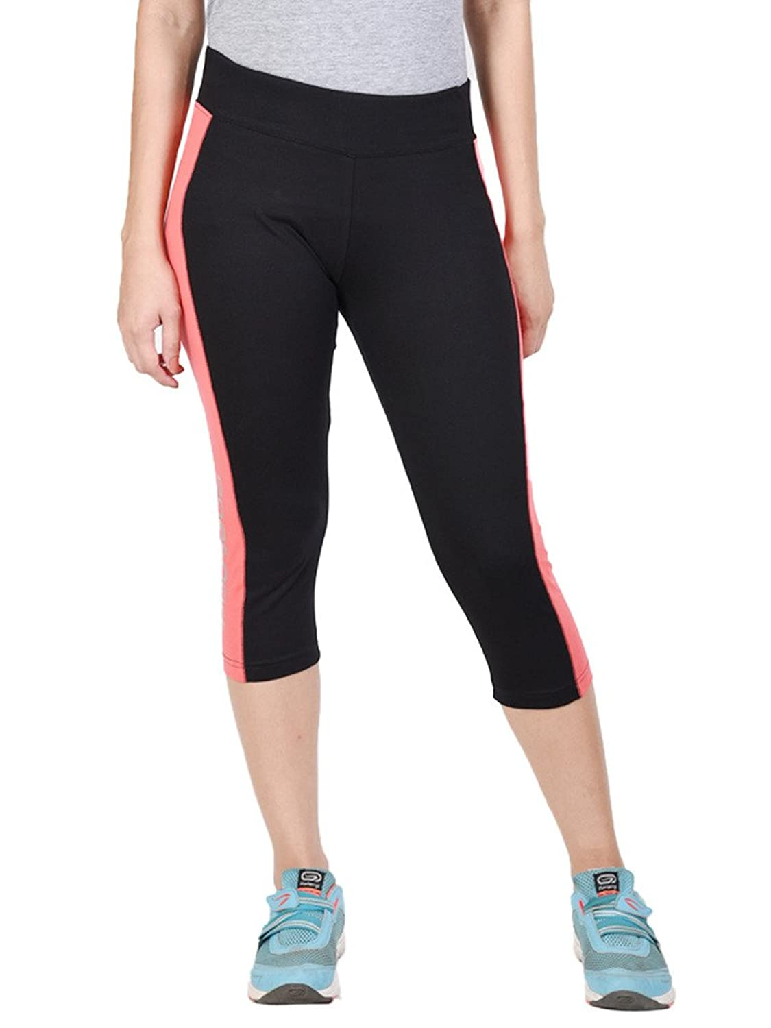 WOMEN'S COTTON SPANDEX JERSEY BLACK + CORAL THREE FORTHS