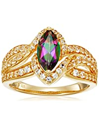 Sterling Silver with Yellow Gold Plating Mystic Fire Topaz and Created White Sapphire Marquise Twisted Ring, Size 7