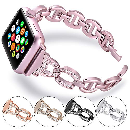 Steel Stainless Bracelet Cuff Sand (KARBYE Thin Metal Band Compatible for Apple Watch Band 42mm 44mm Pink for Women, Glitter Iwatch Bands 42mm 44mm Women Compatible for Apple Watch Bracelet for Series 4/3/2/1 (Women Rose Pink))