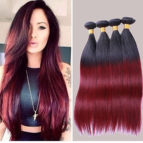 Lady Miranda Peruvian Virgin Hair Burgundy Ombre Color Black Roots 7A 2 Ton Human Hair Extensions 4 Bundles (16