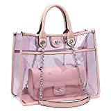 Large Clear Tote Bag PVC Top Handle Shoulder Bag 2 Pieces Set With Turn Lock Closure (Pink)