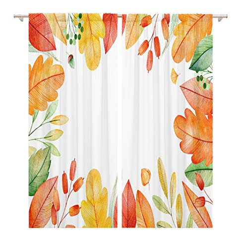 Tinmun 104 x 84 Inch Decorative Drapes Colorful Autumn Bright Fall Leaves My Lovely Collection Wedding 2 Panels Window Curtains for Living Room Bedroom Printed