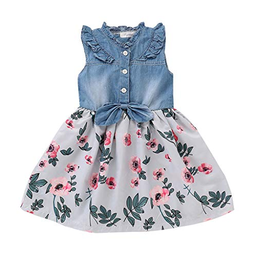 Diufon 2019 New Baby Girls Denim Sleeveless Tops+Vintage Floral Swing Skirt Toddler Girls Summer Fashion Clothes Sets