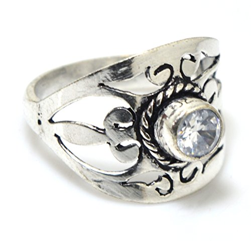 Kala Jewels Sterling Silver Plated Blue Color Stone Natural Lapis Lazuli Ring Size 10 US (Zircon)