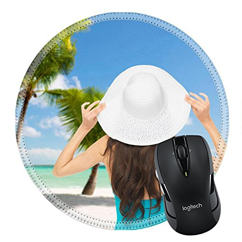 MSD Mousepad Round Mouse Pad/Mat 26694967 summer and vacation concept woman sitting in swimsuit with hat