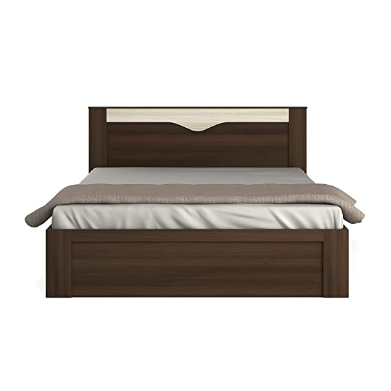 Spacewood Crescent Queen Size Bed  Melamine Finish, Multicolor  Bedroom Furniture
