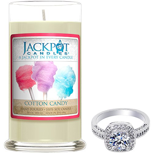 (Cotton Candy Candle with Ring Inside (Surprise Jewelry Valued at 15 to 5,000) Ring Size 8)