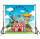 Yeele 7x7ft Circus Carnival Photo Backdrops Vinyl Playground Park Ferris Wheel Performance Game Pirate Boat Photography Background Baby Boys Newborn Birthday Party Photo Video Shoot Studio Props