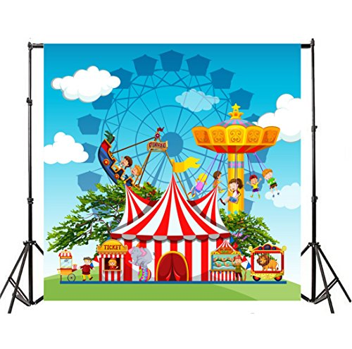 Yeele 7x7ft Circus Carnival Photo Backdrops Vinyl Playground Park Ferris Wheel Performance Game Pirate Boat Photography Background Baby Boys Newborn Birthday Party Photo Video Shoot Studio Props by Yeele