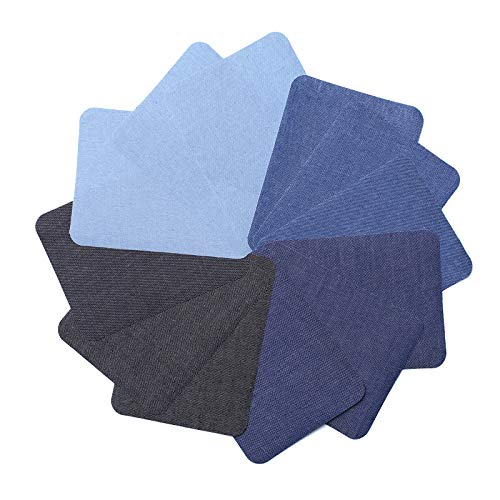 4.9in x 3.7in 12 Pieces Square 4 Colors Denim Iron on Patches for Clothing Repair, Denim Patches for Jeans Kit, Iron for Jeans & Clothing Repair
