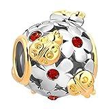 Q&Locket Ladybug Flower Charm Filigree 2 Tone Spacer Charms for Bracelets (Red)