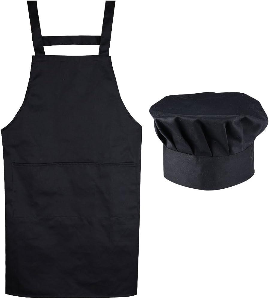 (Kit de 2) Unisex Delantal Mandil Original de Peto de Chef de Cocina + Gorro Cocinero para Hombre Mujer Negro Talla Única